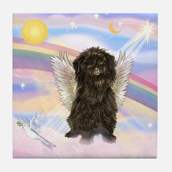 Affenpinscher Angel in Clouds Tile Coaster