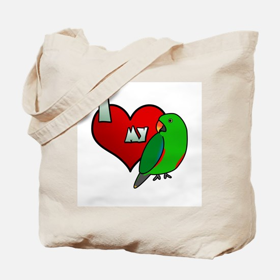 I Love my Red-Sided Eclectus Tote Bag (Male)