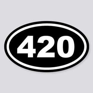 420 Black Euro Oval Sticker