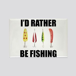 I'd Rather Be Fishing Rectangle Magnet