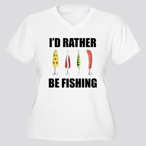 I'd Rather Be Fishing Women's Plus Size V-Neck T-S