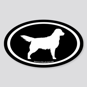 Golden Retriever Oval (wht on blk) Oval Sticker