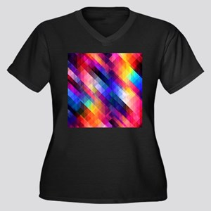 Abstract Colorful Decorative Squ Plus Size T-Shirt