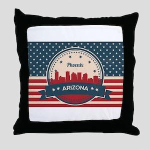 Retro Style Phoenix Arizona Skyline Throw Pillow