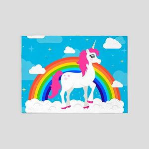 Unicorn Rainbow blue Sky 5'x7'Area Rug