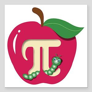 "Red Apple Pi Square Car Magnet 3"" x 3"""