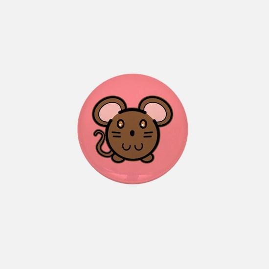 Brown Mousie Mini Button