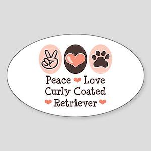 Peace Love Curly Retriever Oval Sticker