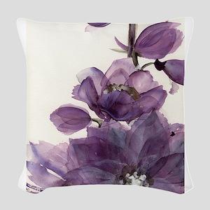 PURPLE FLOWER 2 Woven Throw Pillow