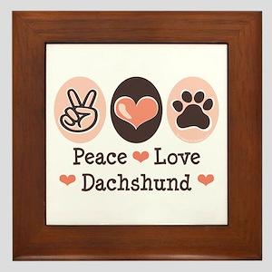 Peace Love Dachshund Framed Tile