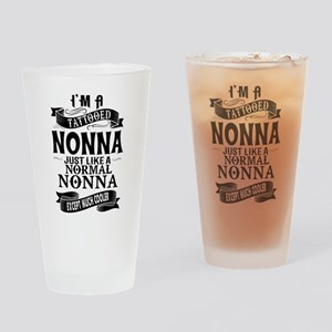 TATTOOED NONNA Drinking Glass