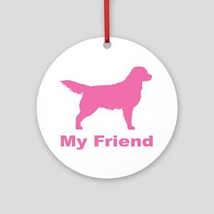Pink My Friend Golden Retriever Ornament (Round)