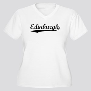 Vintage Edinburgh (Black) Women's Plus Size V-Neck