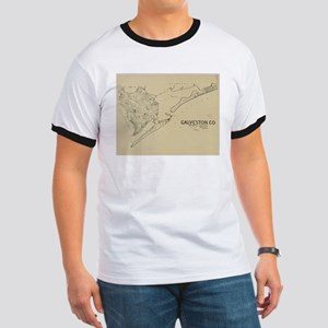 Vintage Map of Galveston Texas (1892) T-Shirt