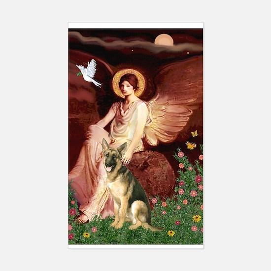 Seated Angel / German Shepherd Sticker (Rectangula