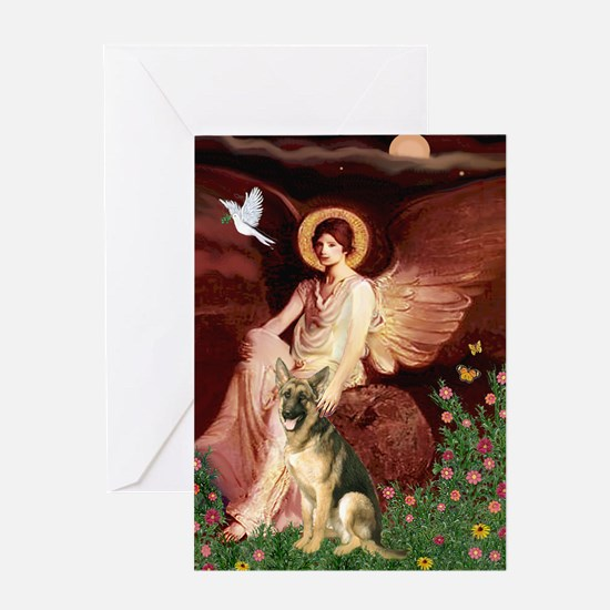 Seated Angel / German Shepherd Greeting Card