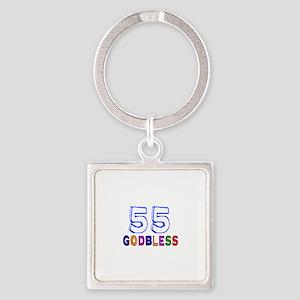 55 God Bless Birthday Designs Square Keychain