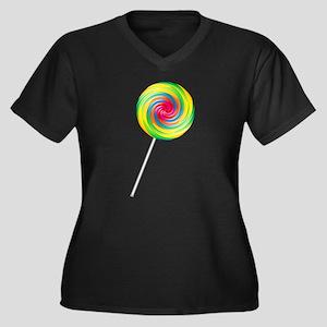 Swirly Lollipop Women's Plus Size V-Neck Dark T-Sh