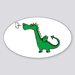 Cartoon Dragon Oval Sticker