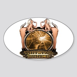 hunt naked Deer hunter gift t Oval Sticker