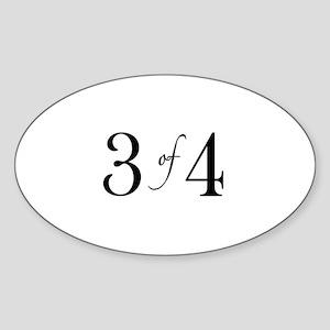 3 of 4 (3rd Child) Oval Sticker