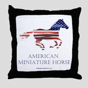 American Miniature Horse Flag Throw Pillow