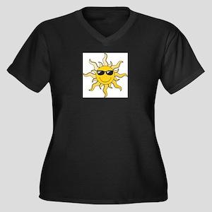 SUN (22) Women's Plus Size V-Neck Dark T-Shirt