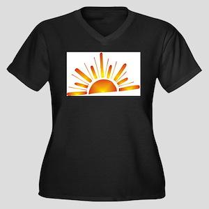 SUNSET (1) Women's Plus Size V-Neck Dark T-Shirt