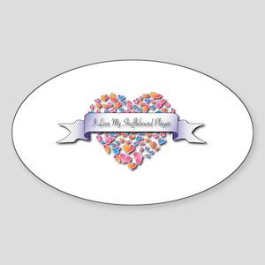 Love My Shuffleboard Player Oval Sticker
