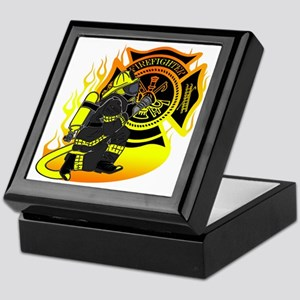 Firefighter With Maltese Cross Keepsake Box