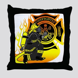 Firefighter With Maltese Cross Throw Pillow