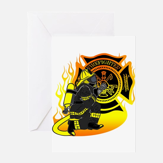 Firefighter With Maltese Cross Greeting Card