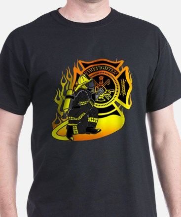 Firefighter With Maltese Cross T-Shirt