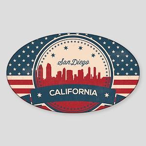 Retro San Diego Skyline Sticker