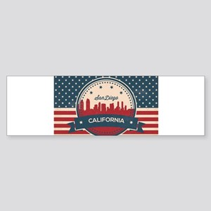 Retro San Diego Skyline Bumper Sticker