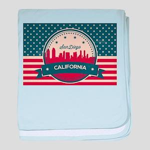 Retro San Diego Skyline baby blanket
