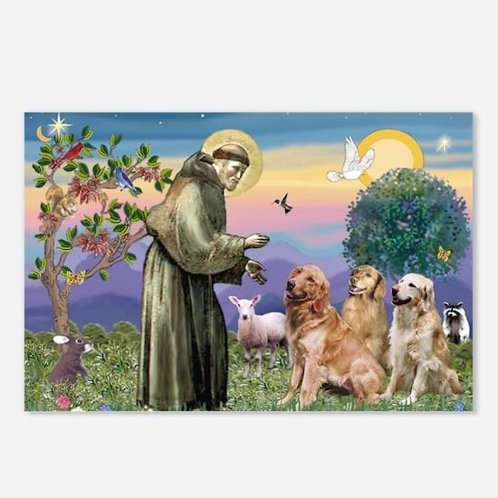 St Francis / Golden Retriever (3) Postcards (Packa