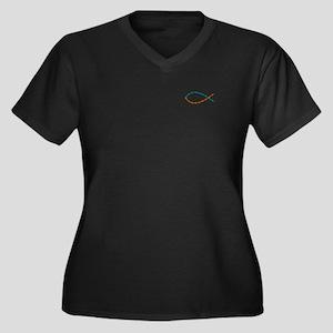 Ichthys Women's Plus Size V-Neck Dark T-Shirt