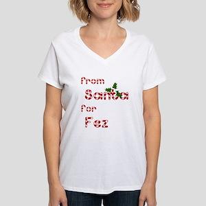 From Santa For Fez Women's V-Neck T-Shirt
