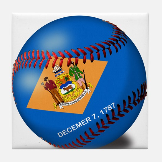Baseball Delaware Flag Tile Coaster