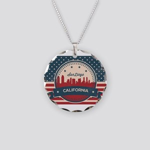 Retro San Diego Skyline Necklace Circle Charm