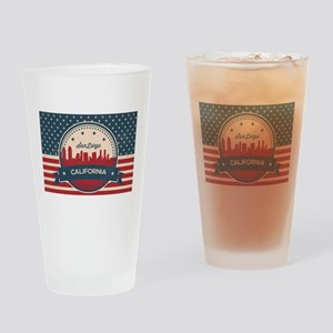 Retro San Diego Skyline Drinking Glass