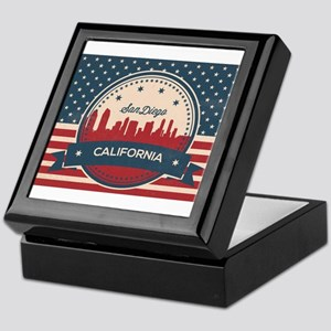 Retro San Diego Skyline Keepsake Box