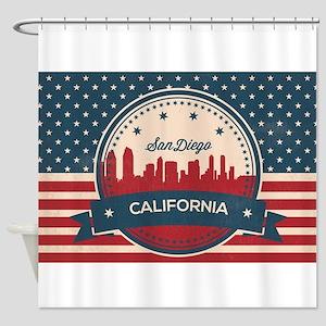 Retro San Diego Skyline Shower Curtain