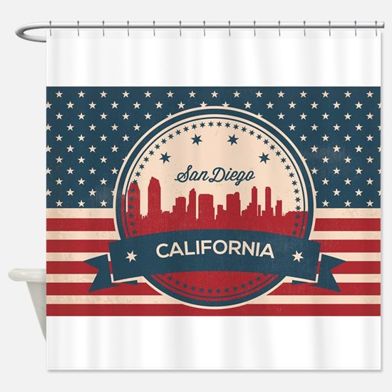 Retro San Diego Skyline Shower Curtain