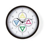 Alchemical Mandala Earth Water Air Fire Wall Clock