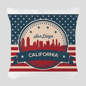 Retro San Diego Skyline Woven Throw Pillow