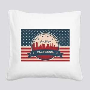 Retro San Diego Skyline Square Canvas Pillow