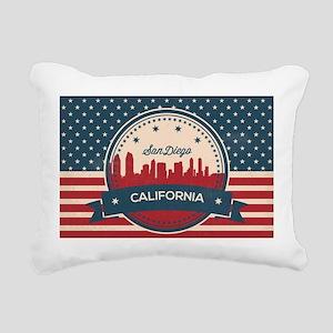 Retro San Diego Skyline Rectangular Canvas Pillow