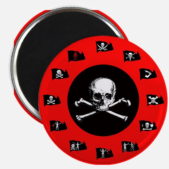 Pirate Flags, Red Jolly Roger Magnet